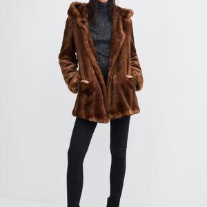 Zara brown faux mink hooded jacket coat, S